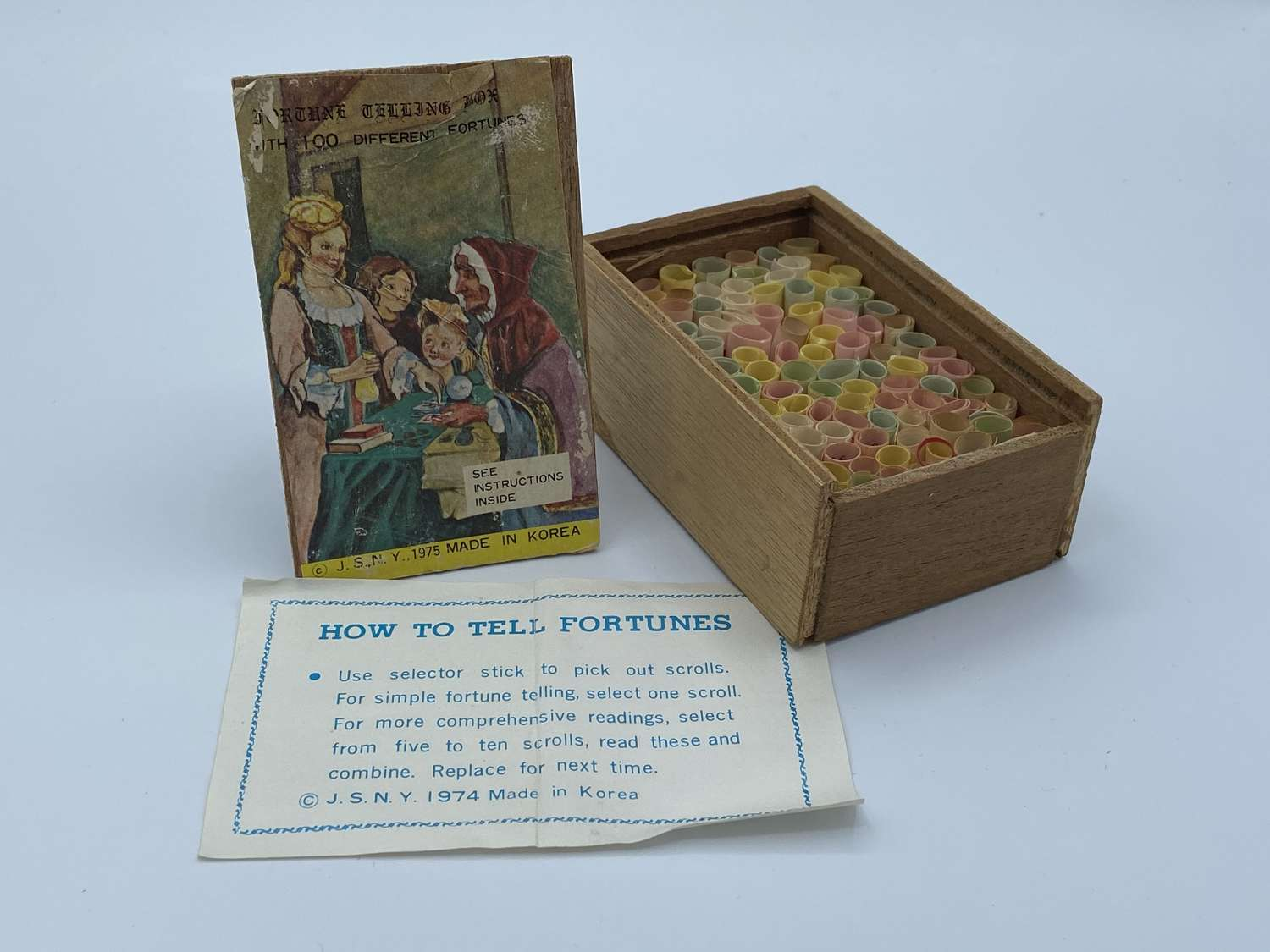 Rare 1975 Fortune Greetings Box With 100 Different Fortunes Korea