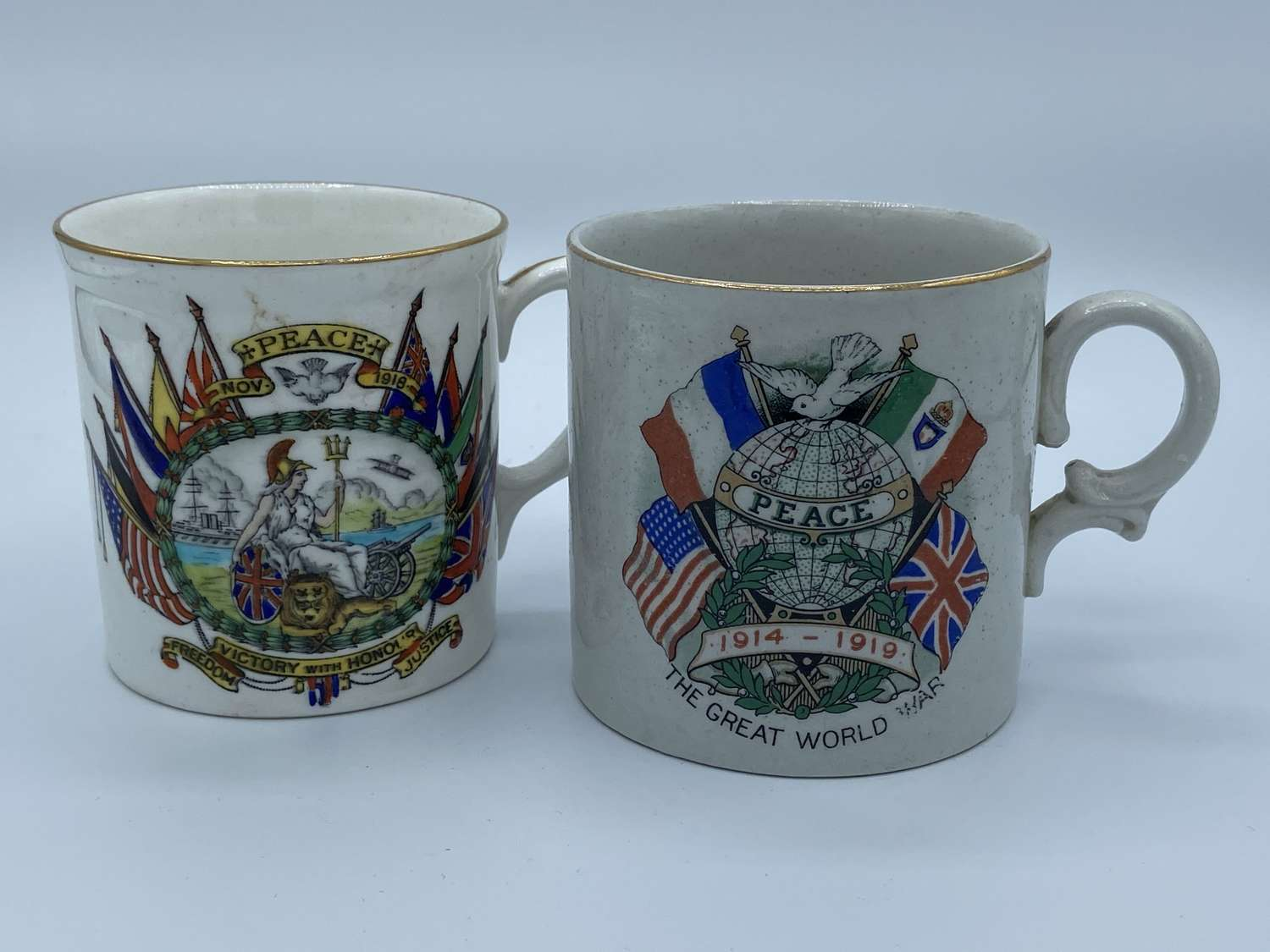 Pair Of WW1 1914-1918 British Peace/ Victory Porcelain Cups