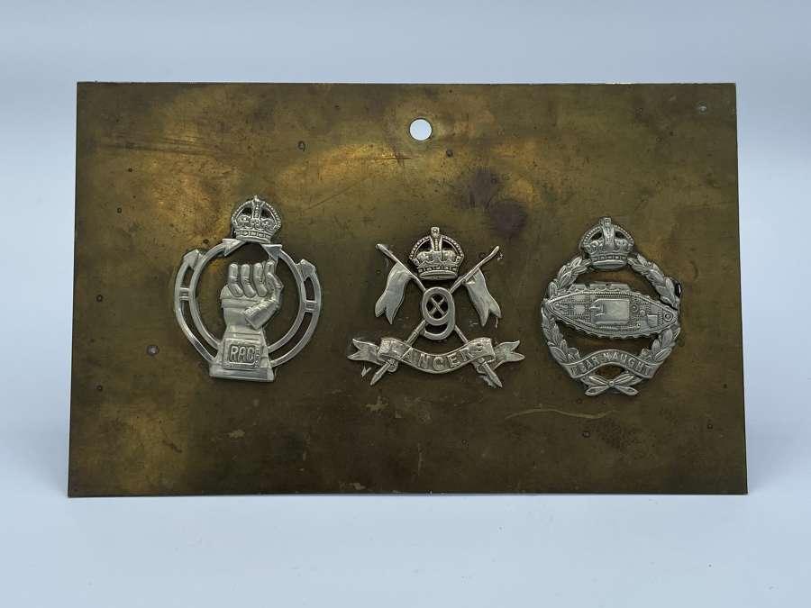 WW2 Royal Tank Reguments Plaque RTC RAC 9th Lancers