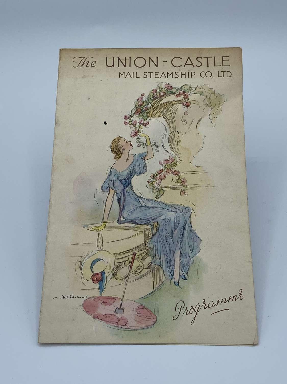 The Union Castle Mail Steamship Co Ltd Programme August 7th 1938