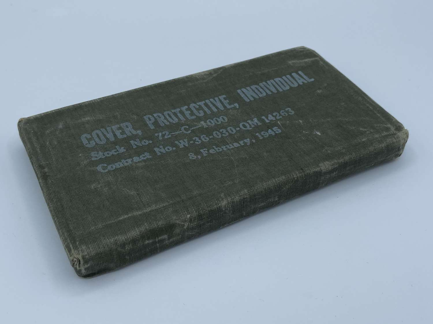 WW2 Individual Protective Gas Cover United States Army 8th Feb 1945