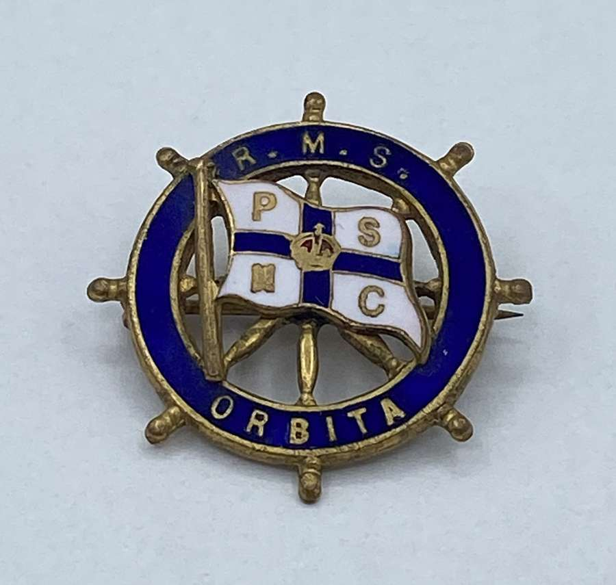 WW1 Era RMS Orbita Brass And Enamel Badge