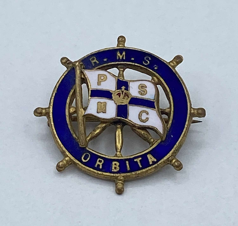 WW1 Era RMS Orbita Brass And Enamel Badge