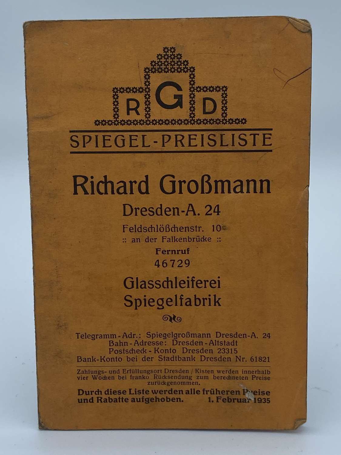 WW2 German Glass And Mirror Shop Advertising Booklet 1935