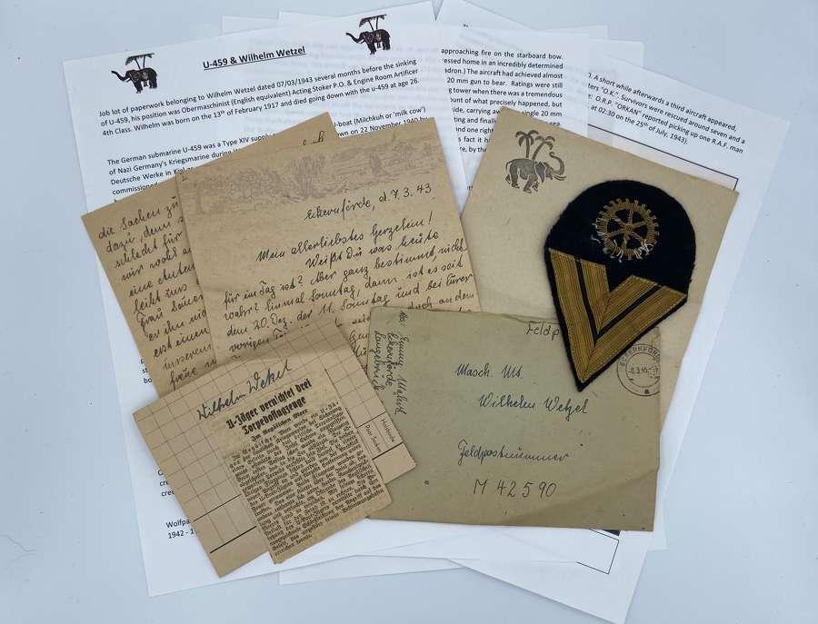 WW2 German Sunken U-boat Paperwork Lot To U-459 Wilhelm Wetzel KIA