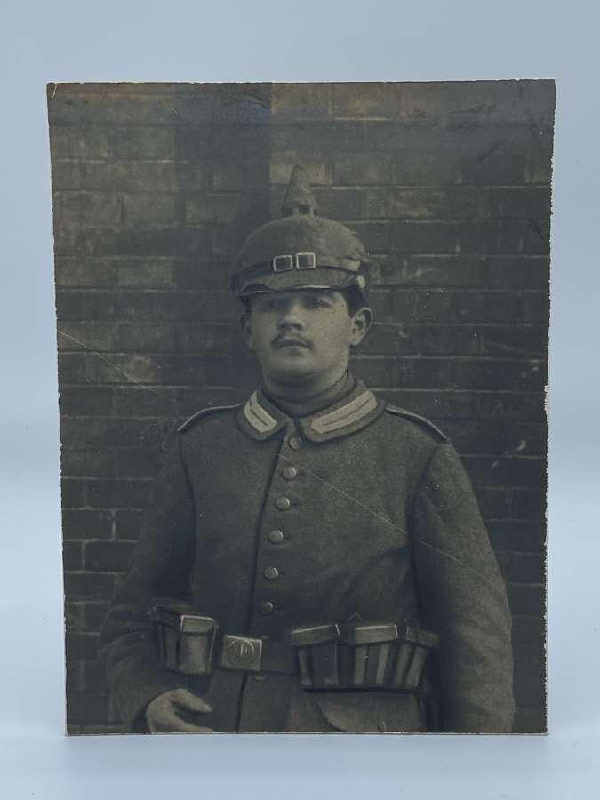 Large WW1 German Portrait Photograph Of Soldier Wearing Pickelhaube
