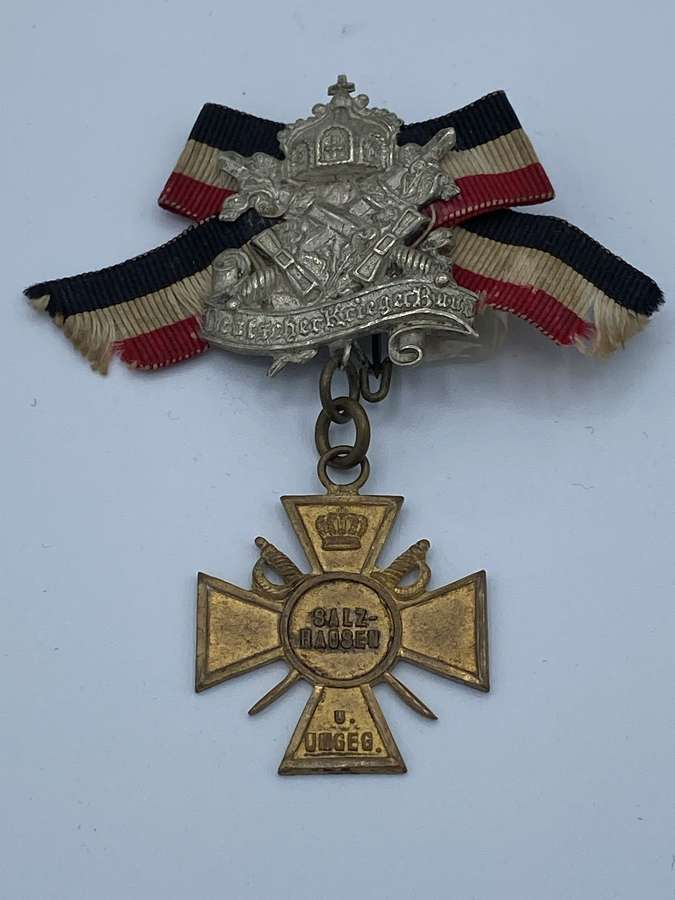 WW1 German Bavarian Warrior League Membership Salzhausen Medal Badge