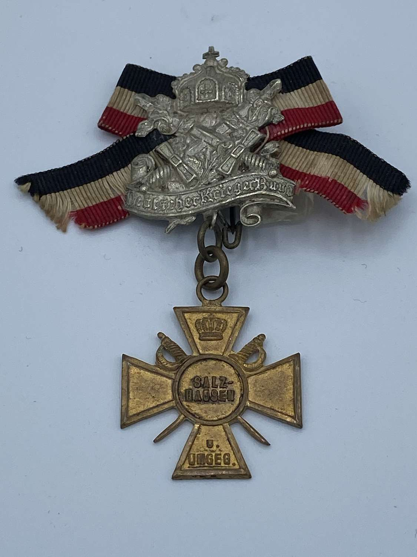 WW1 German Bavarian Warrior League Membership Salzhausen Medal Badge