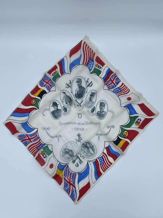 Beautiful WW1 Souvenir Of The Victory 1918 Silk Handkerchief