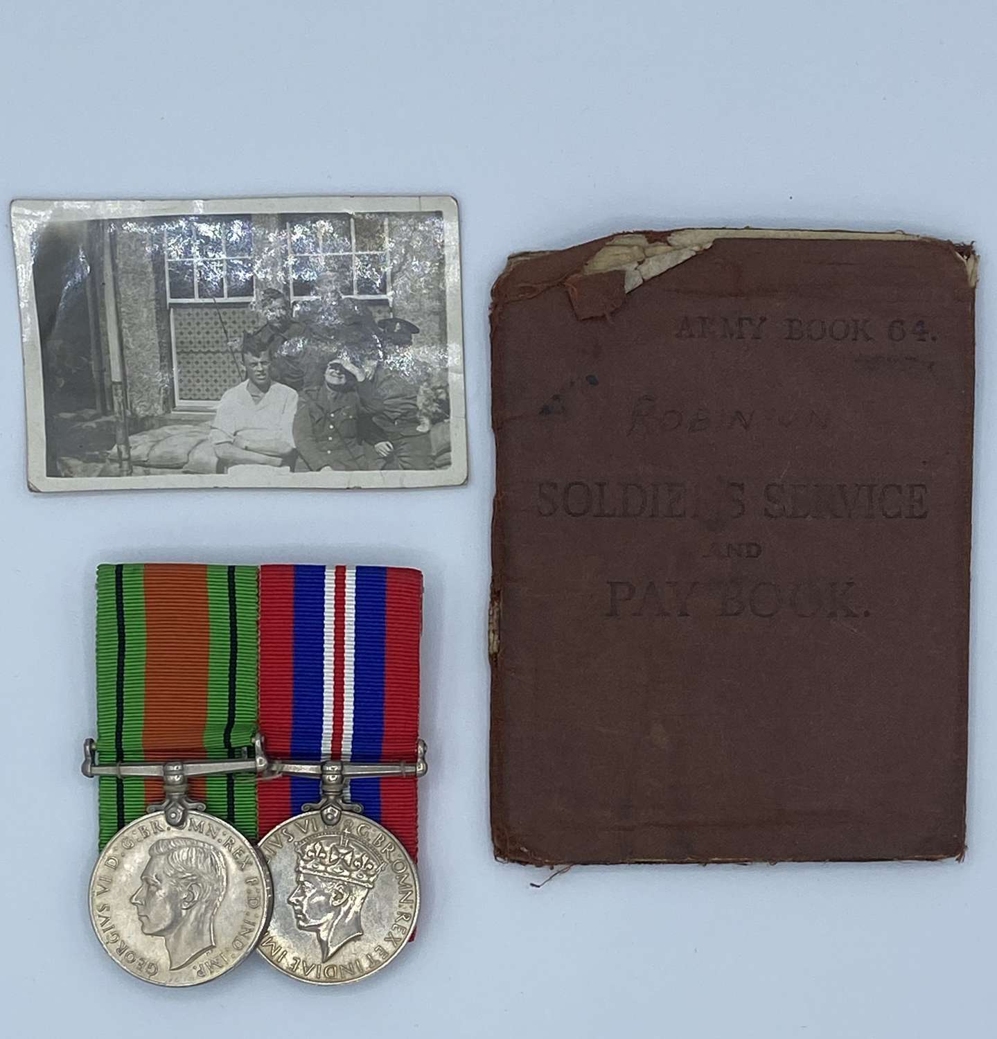 Ww2 Medal Group, Pay Book And Photograph To 7397659 Pte H L Robinson
