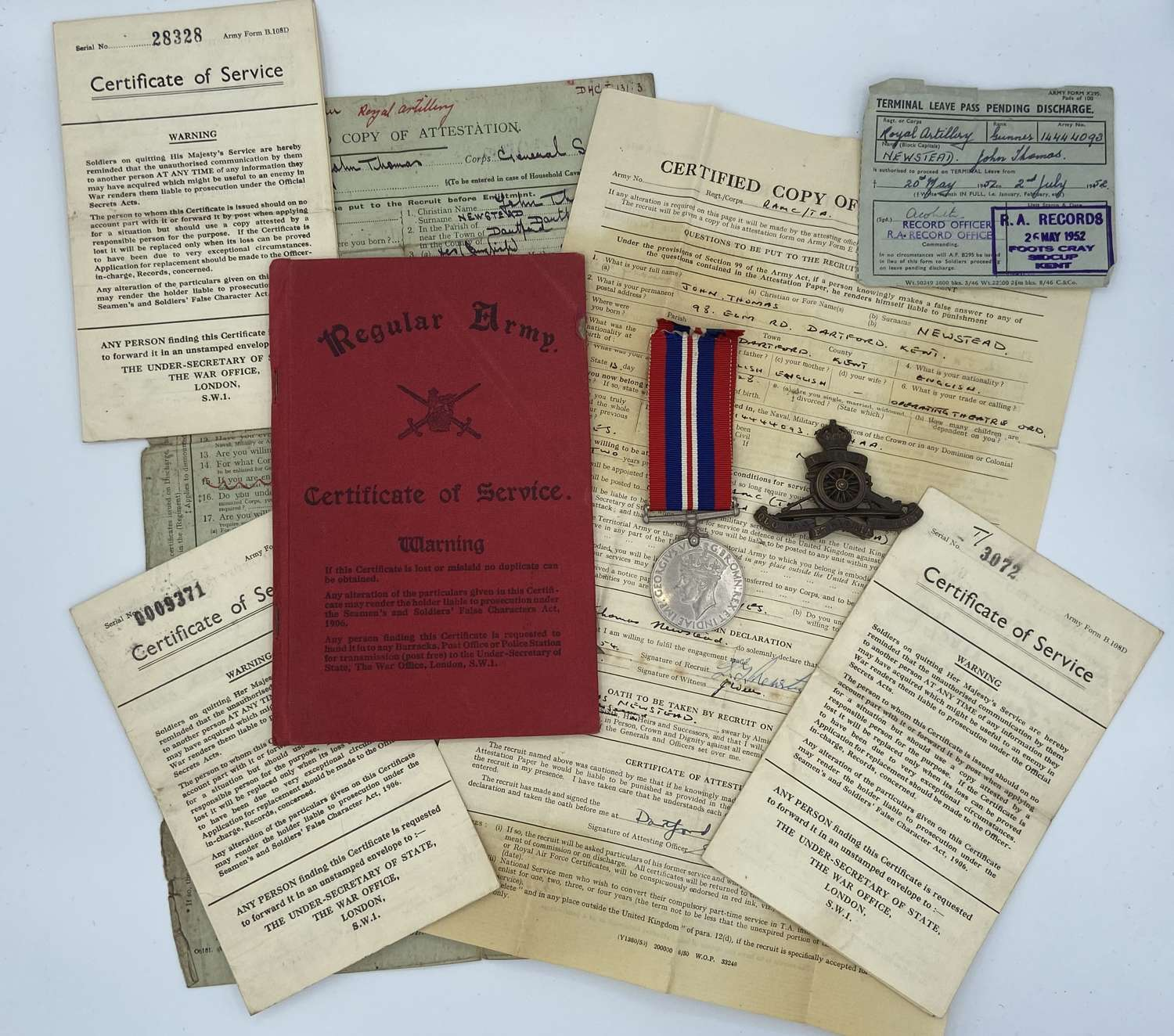 WW2 Royal Artillery Group To Gnr John Thomas Newstead Medals And Paper