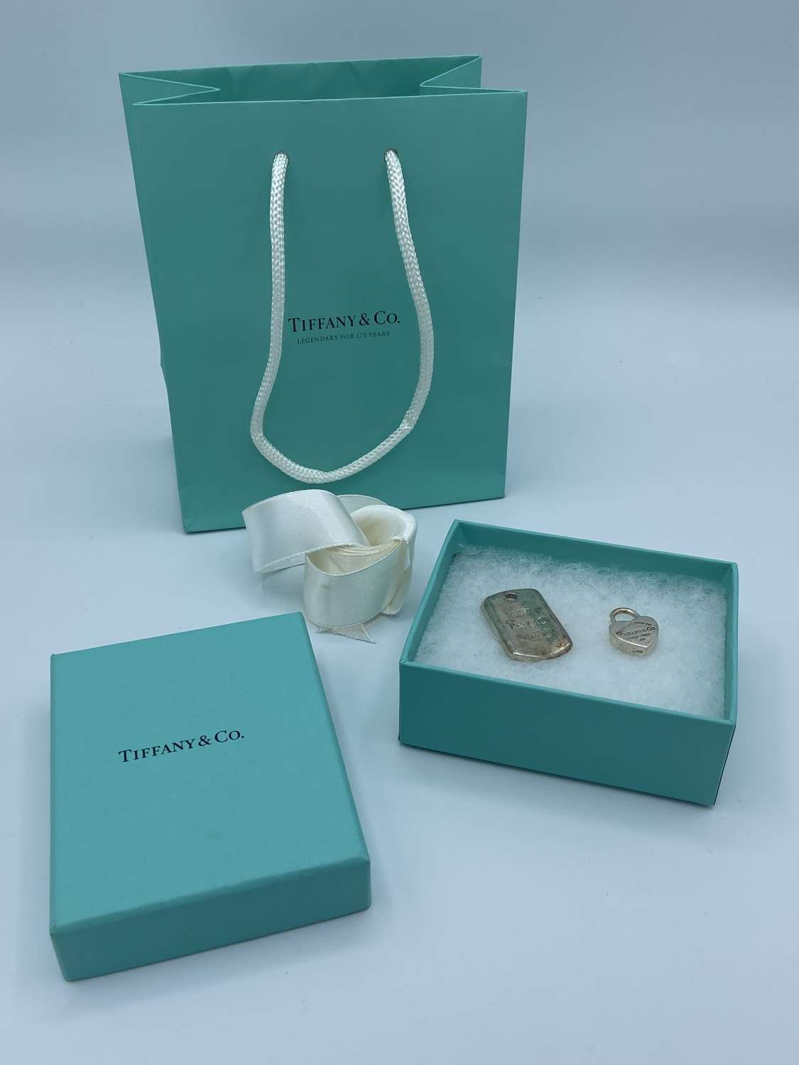 Tiffany & Co 925 Silver Padlock & Sterling Silver Dog Tag In Packaging