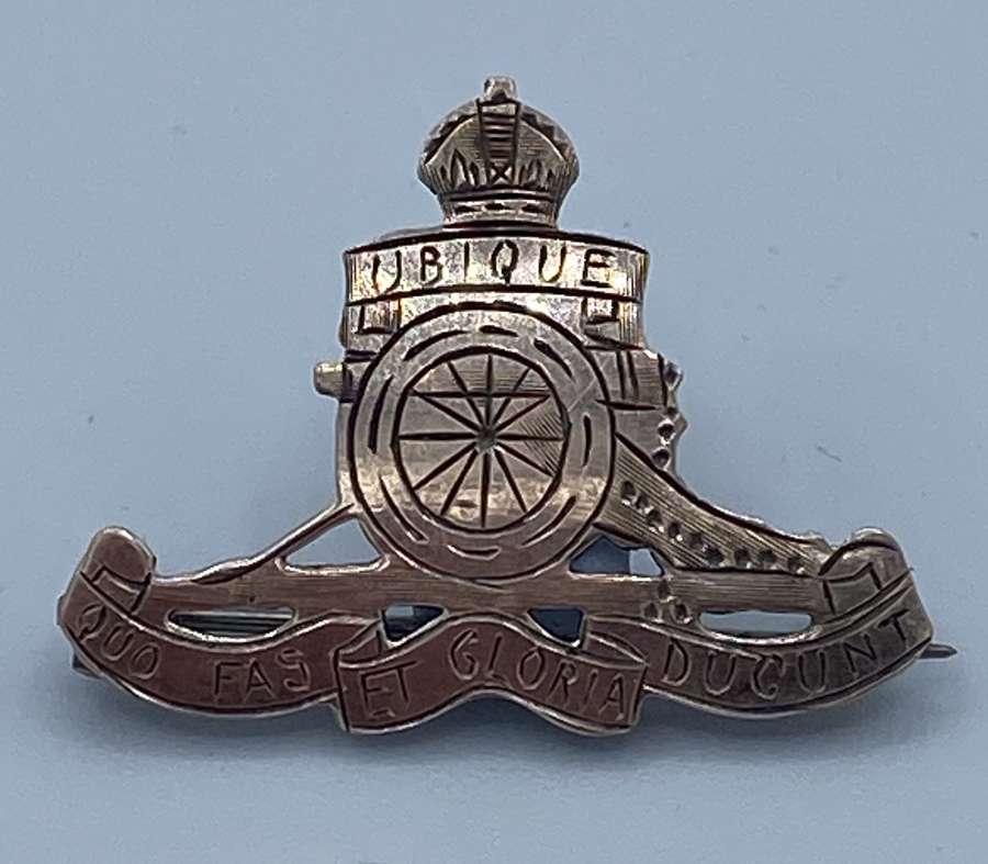 WW1 Sterling Silver Royal Artillery Sweetheart Badge