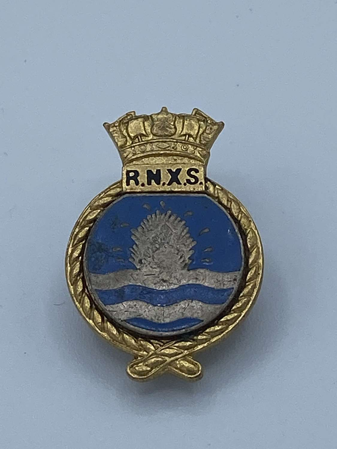 WW2 RNXS Royal Naval Auxiliary Service badge Mine Sweeper J R Gaunt