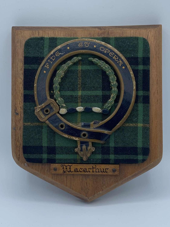 Highland Scottish Clan MacArthur Fide Et Opera Tartan Plaque Crest