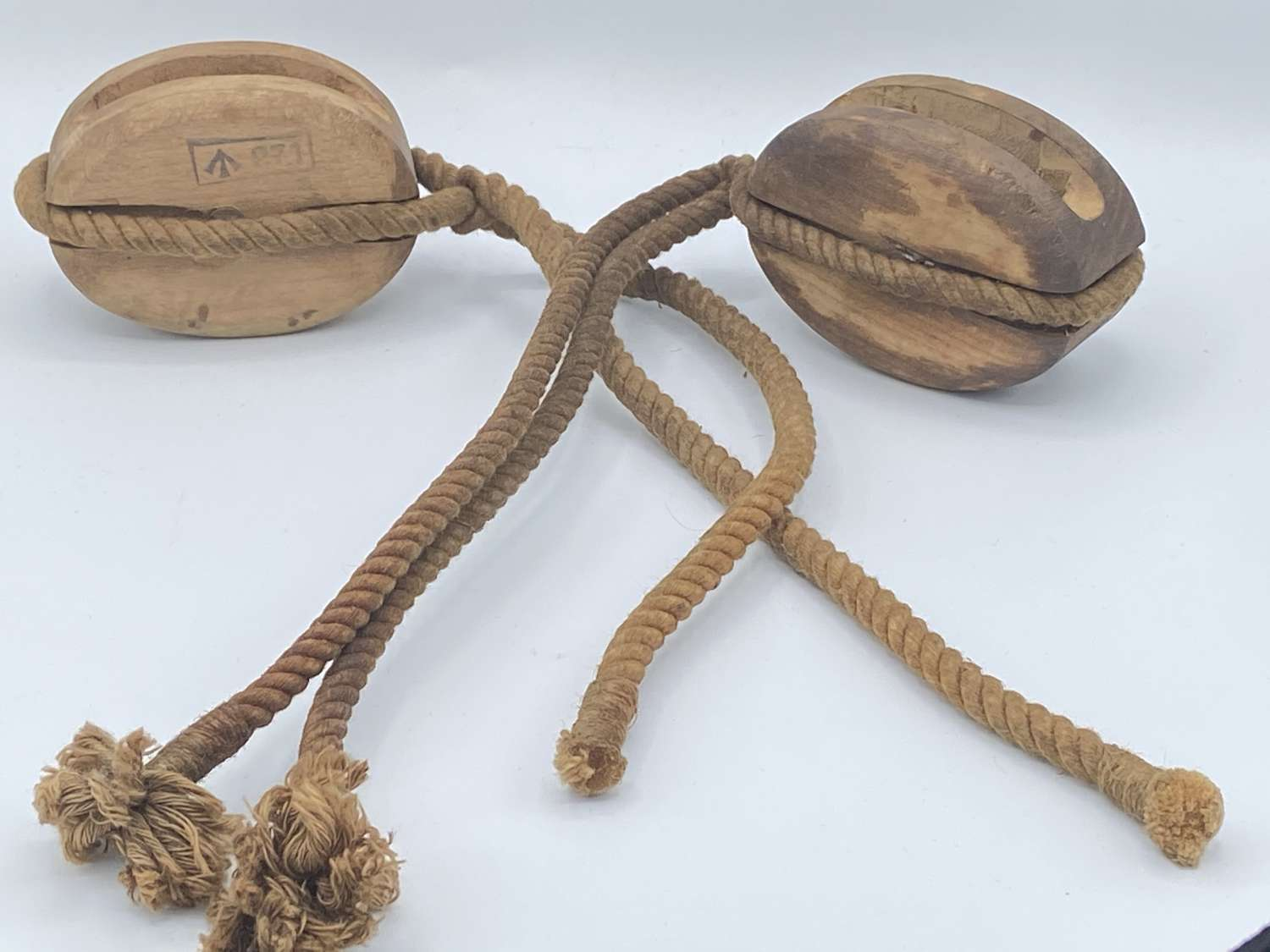 Pair Of WW2 British Royal Navy Wooden Pulleys Dated 1944