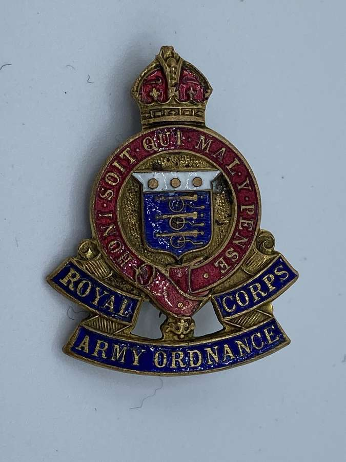 WW1 Royal Army Ordnance Corps Sweetheart Badge Brass And Enamel