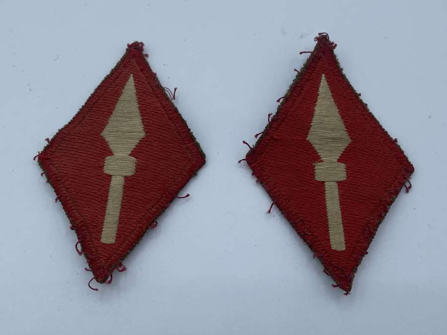 Pair Of WW2 British Army First Corps Shoulder Patches