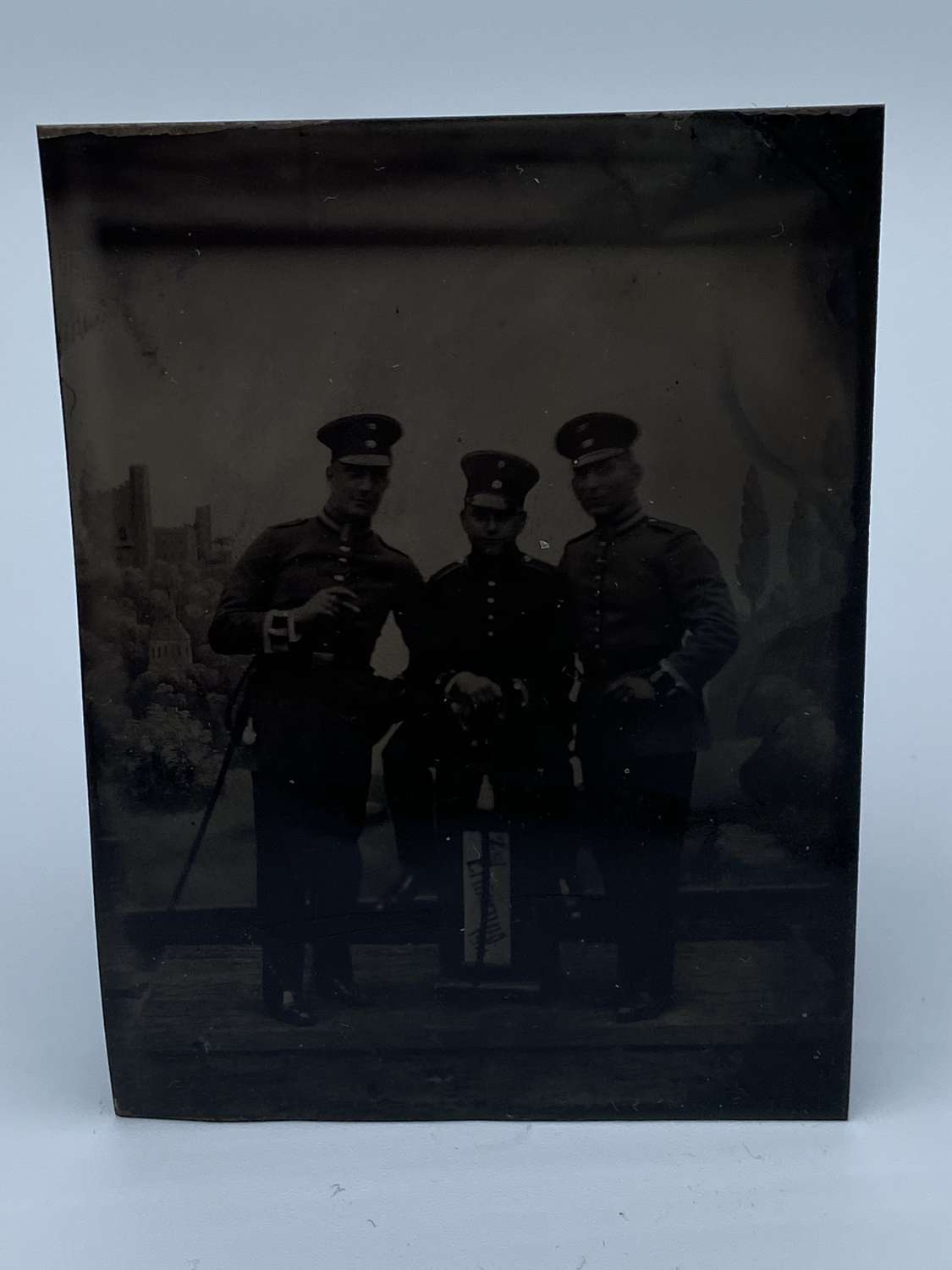 Rare 1914 Dated Three German Officers Tintype Military Photograph