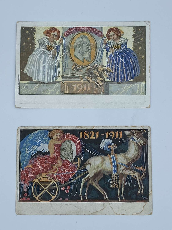 Pair Of 1821-1911 Royal Konigreich Bayern Postcards