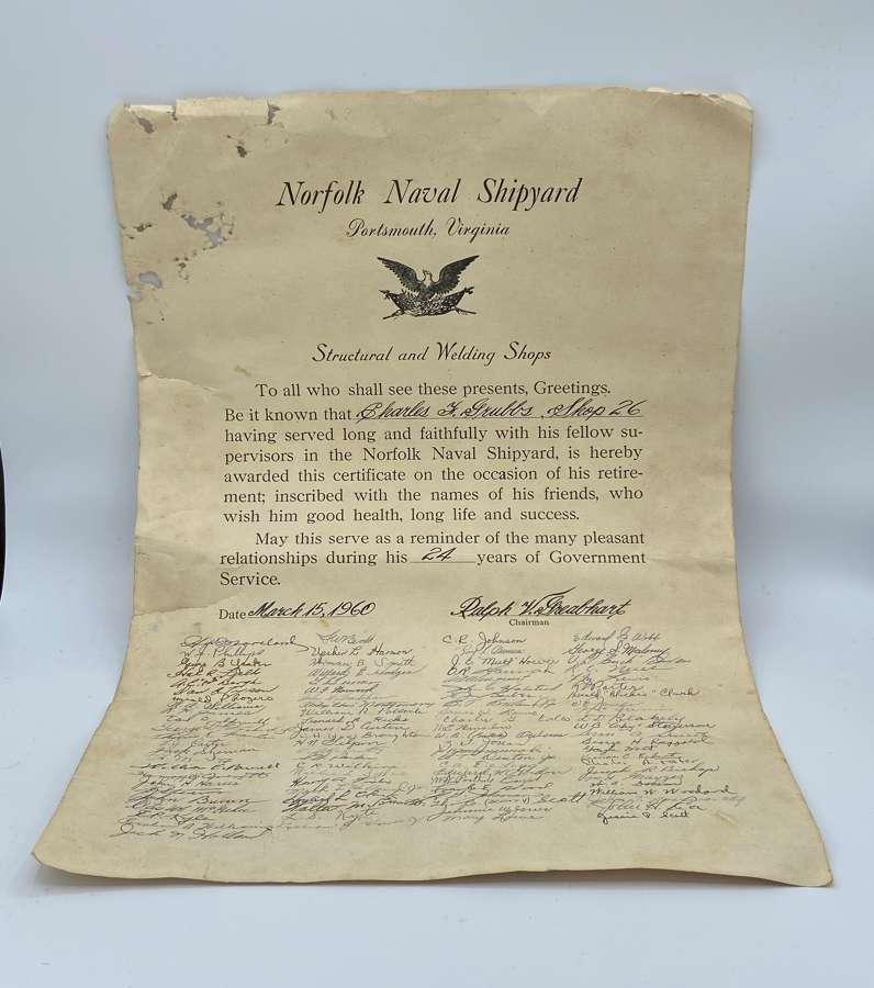 Retirement Norfolk Naval Shipyard 1960 Certificate
