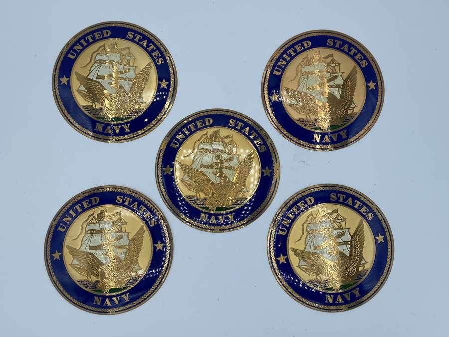 5 X Vintage United States Navy Brass & Enamel Plaques