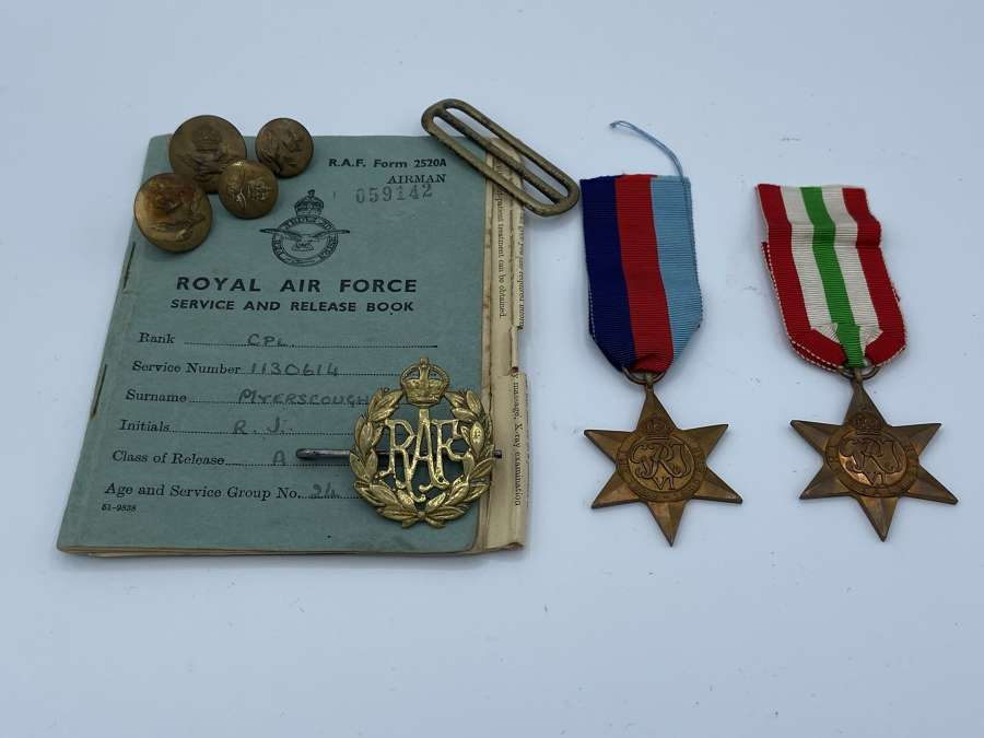 WW2 RAF Medal Group, Badge And Service Book Etc To Cpl R J Myerscough