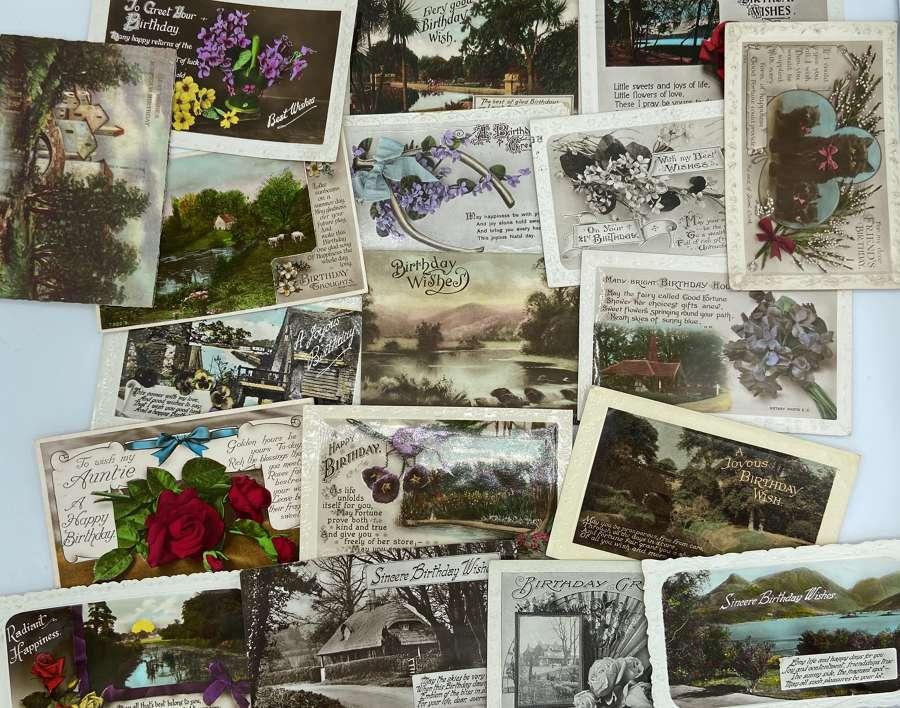 Joblot Of 18 WW1 & WW2 Era Post Cards