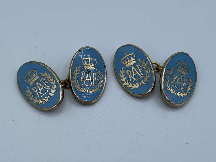 Vintage WW2 MP Gold Plated And Enamel RAF Royal Air Force Cufflinks