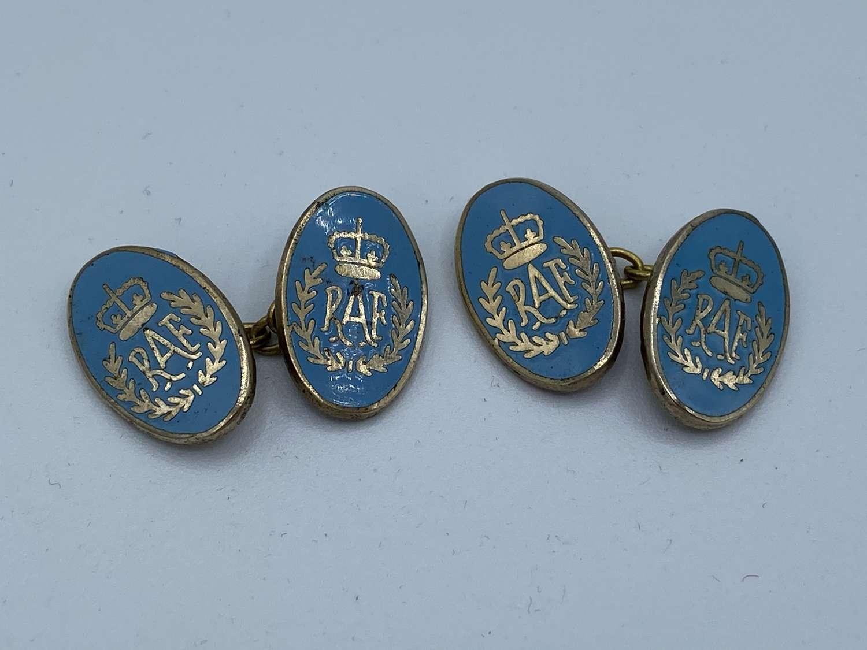 Vintage WW2 MP Gold Plated And Enamel RAF Royal Air Force Cufflinks
