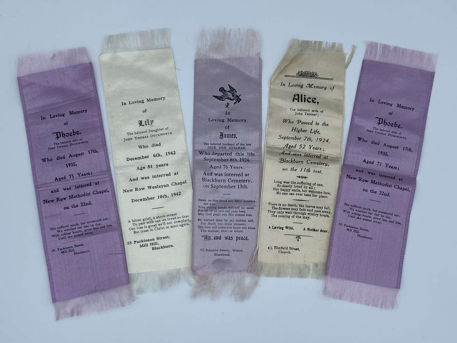 Lot of 5 Antique Silk Funeral Ribbons