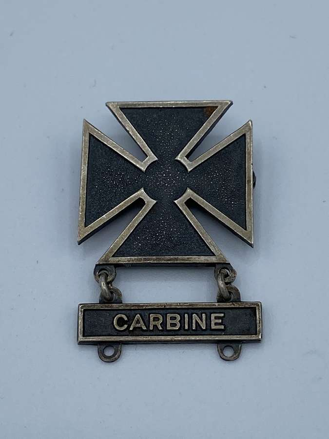 WW2 Us Sterling Silver Carbine Marksman Badge
