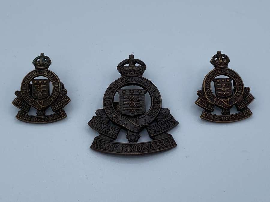 WW2 ROAC Royal Army Ordinants Corps Cap Badge & Shoulder Badges Set