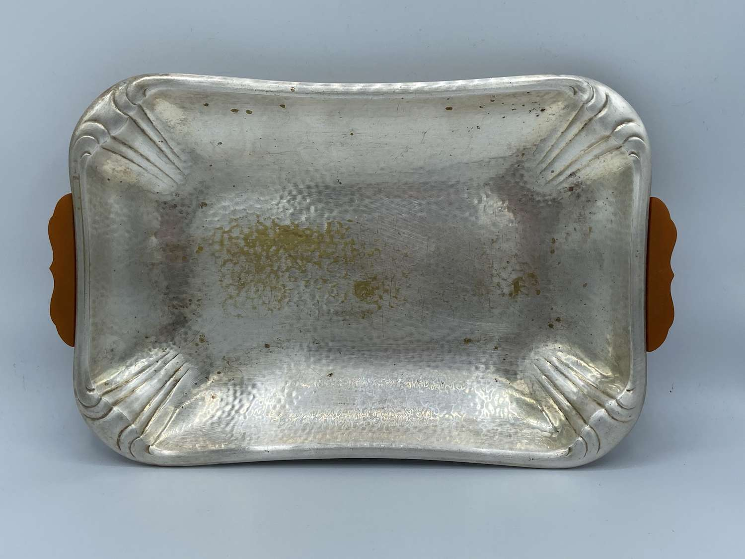 1930s German Art Deco Silver Plate And Amber Handles Tray