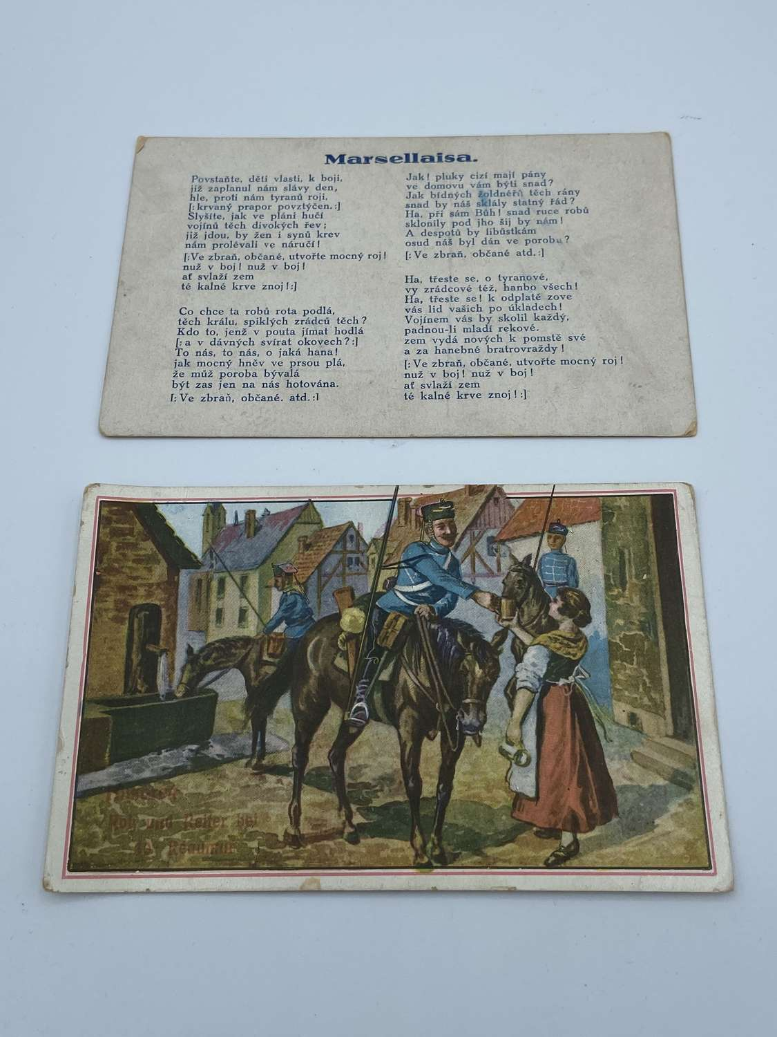 Pair of WW1 French Postcards National Anthem & Soldiers