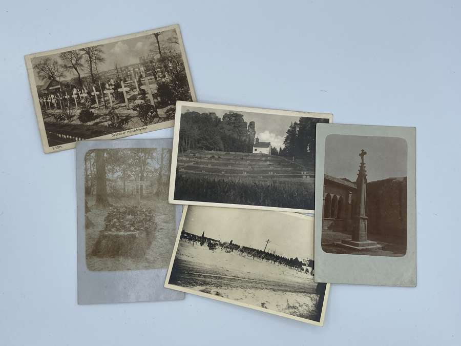 5 X WW1 German Funeral Photographs Cemetery's Etc