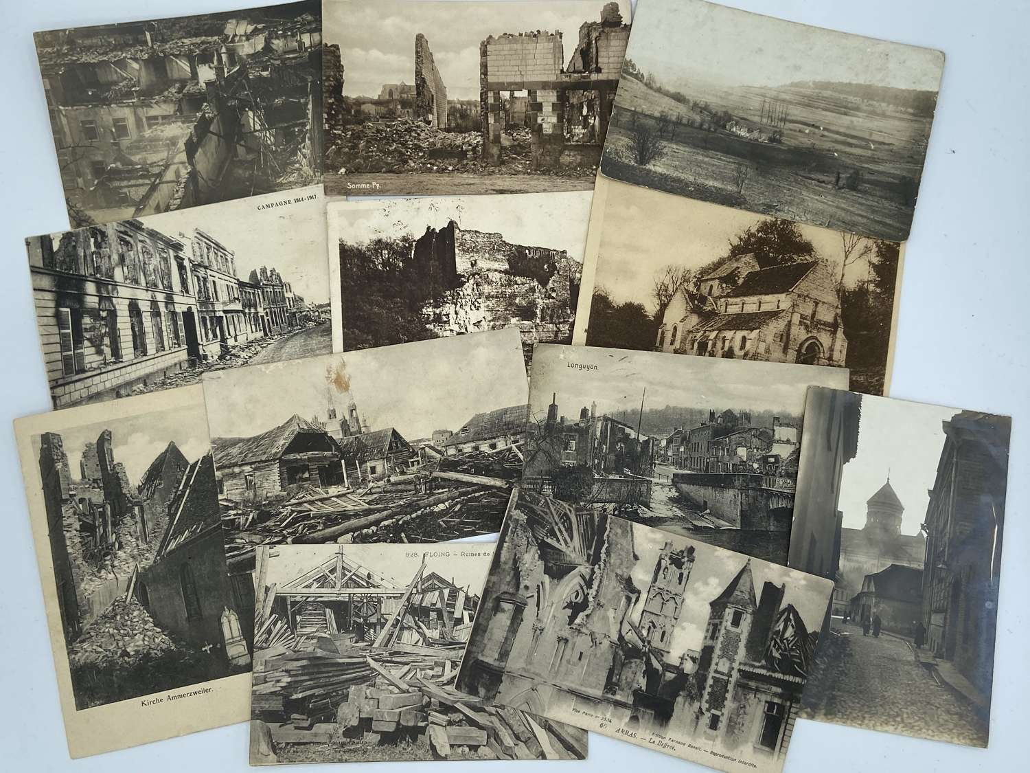 WW1 German & French Battle Damage And Bombing PostCards