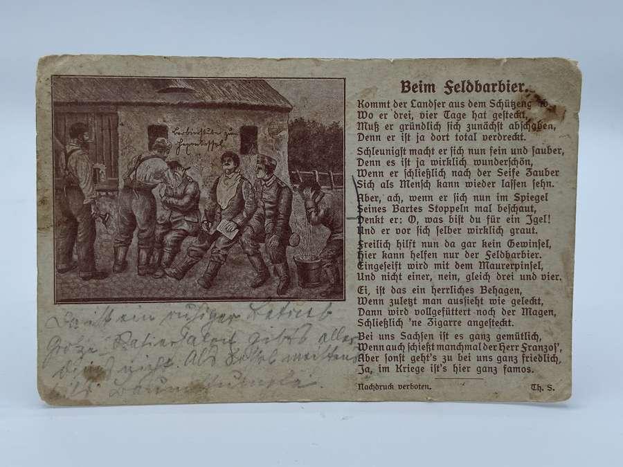 WW1 German Field Barber Hairdressing Post Card Infantry Regiment