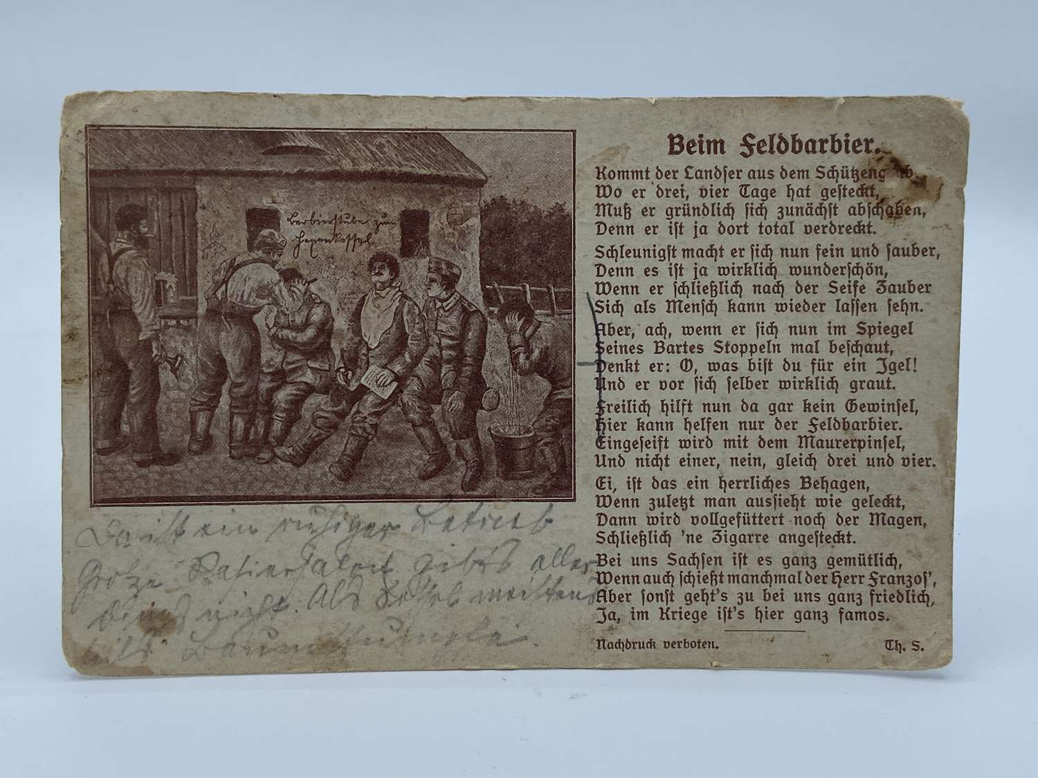 WW1 German Field Barber Hairdressing Post Card Infantry Regiment
