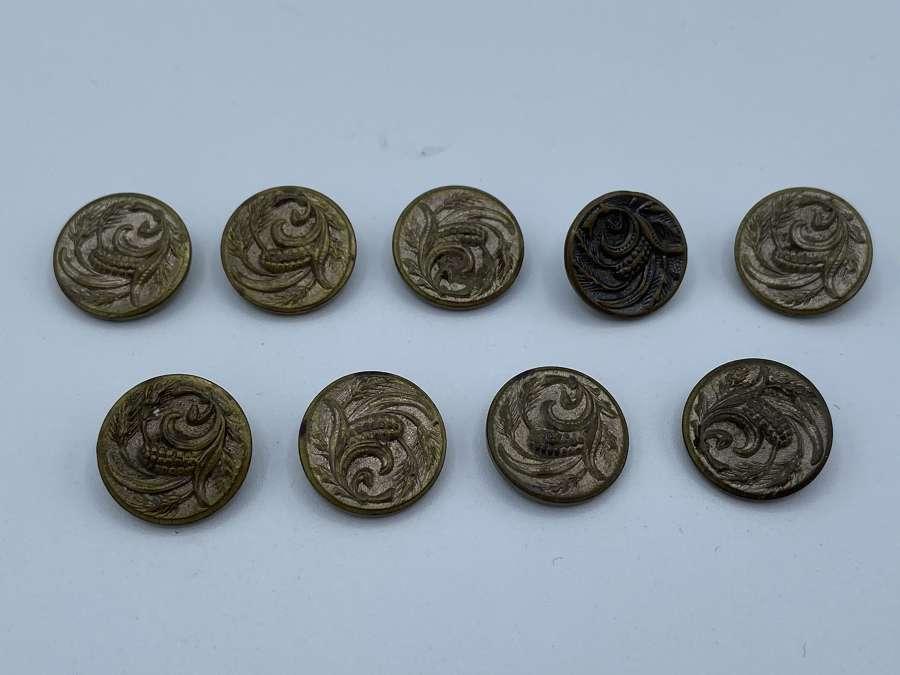 9 Victorian Paris Brevete TW & WHM Floral Art Nouveau Buttons