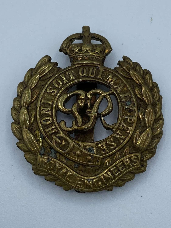 WW2 Royal Engineers Brass Slider Cap badge