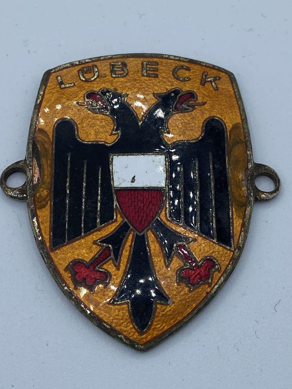 WW2 German Lübeck Enamel Car Badge