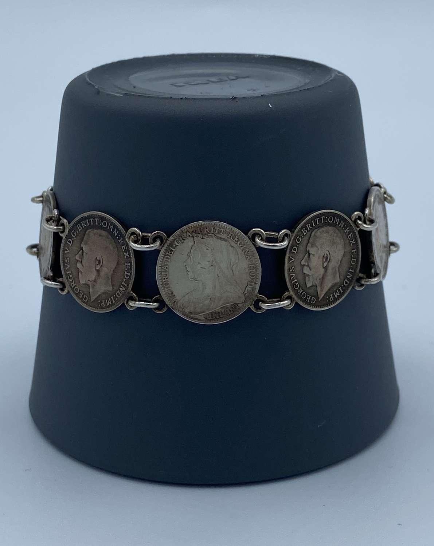 WW1 George V Silver Coins 1898-1935 Bracelet Belgium Souvenir