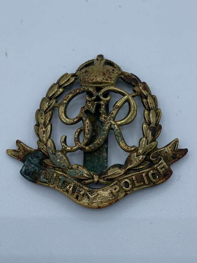 WW2 Brass British Military Police Cap Badge Initialled JD