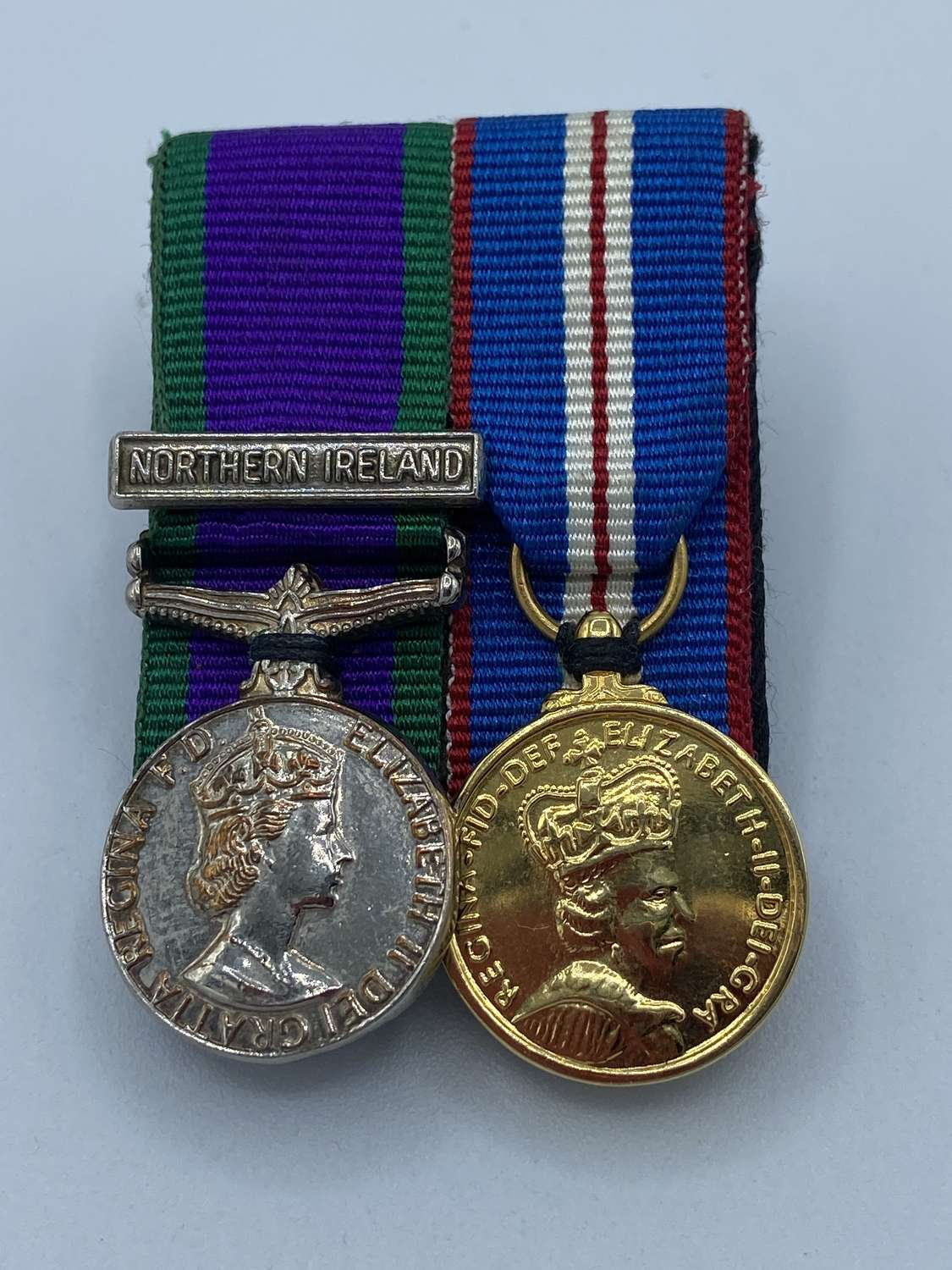 WW2 Minature Medal Duo LGSM- Northern Ireland Clasp & Golden Jubilee
