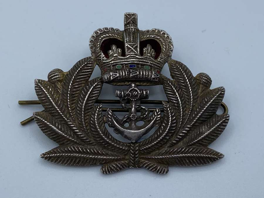 1950s Queens Crown Royal Navy Officers Silver Beret Cap Badge