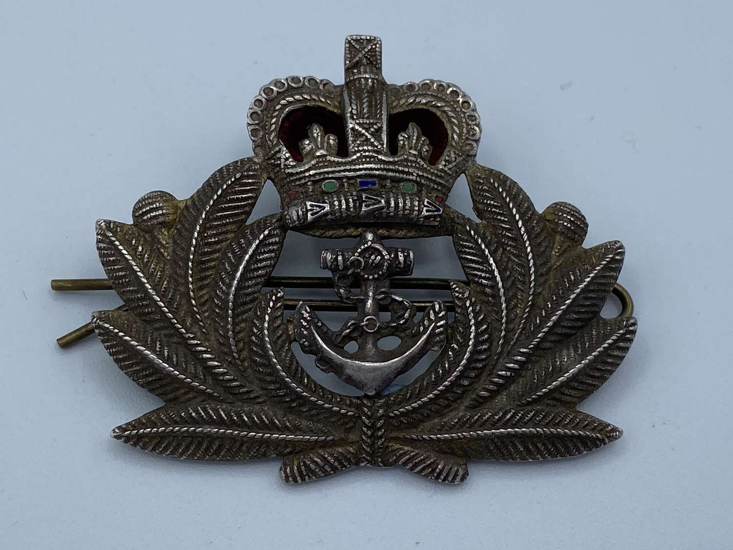 1950s Queens Crown Royal Navy Officers Silver Beret Cap Badge