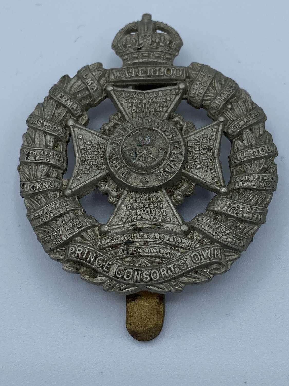WW1 Prince Consorts Own Rifle Brigade Slider Cap Badge