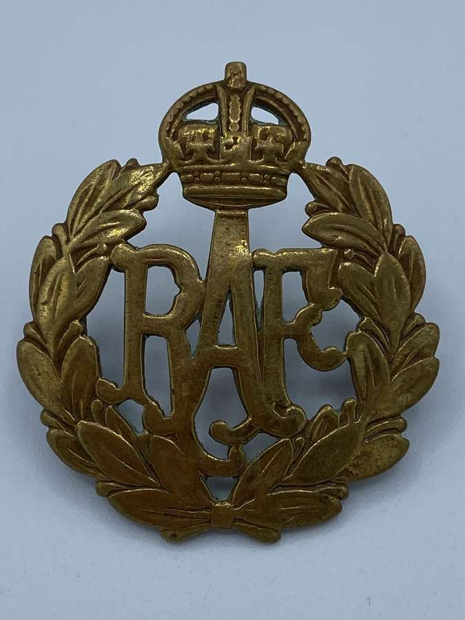 WW2 Brass Officer RAF Royal Air Force Cap Badge
