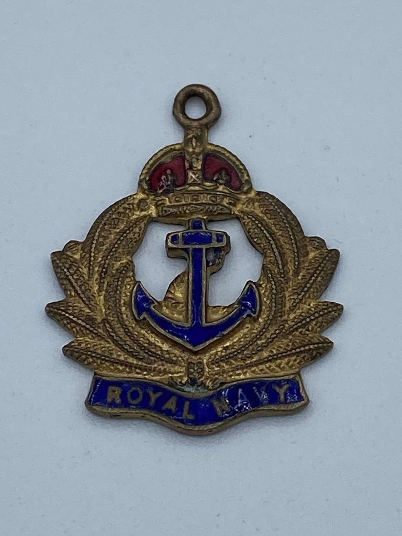 WW1 Royal Navy Brass & Enamel Sweetheart Pendant